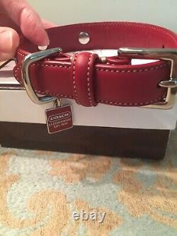 COACH Red Leather Studded Dog Pet Animal Collar XS Extra Small 8848