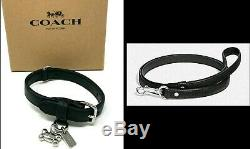 Coach Black Small Leather Collar & Leash Set Silver Charms Pet Dog F26177/f26178