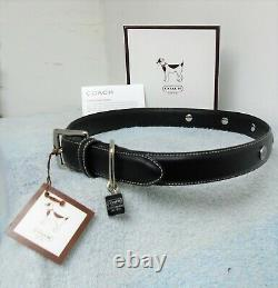 Coach Black Smooth Leather Round Grommets Dog Pet Collar Size Extra Large 8848