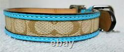 Coach Blue Leather Brown Jaquard Bone Charm Dog Pet Collar Extra Small 64556