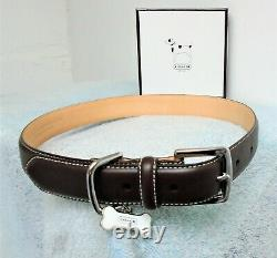 Coach Brown Smooth Leather Bone Charm Dog Pet Collar Size Extra Large 8420