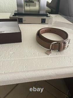 Coach Brown Smooth Leather Round Grommets Dog Pet Collar Size Large 8848