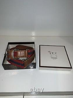 Coach Leather Charm Pet Animal Dog Collar Size L Red Blue Brown RARE With Box A