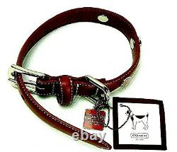 Coach Leather Circle Studded Charm Dog Pet Animal Collar XS Red 8848 NWT