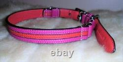 Coach Pink And Red Leather Round Silver Charm Dog Pet Collar Size Medium 60407
