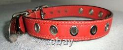 Coach Red Leather Nickel Hardware Oval Charm Dog Pet Collar Size Small 60143
