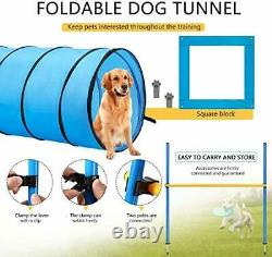 Dog Agility Equipment Pet Obstacle Training Course Kit with Tunnel Adjustable