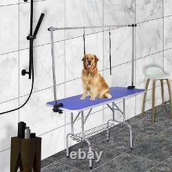 Dog Cat Pet Grooming Table Portable Folding Adjustable Noose Arm Mesh Tray