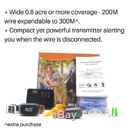Electronic PET DOG INVISIBLE e-Fence Rechargeable e-Collar 200metres wire length