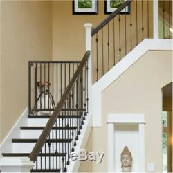 Expandable Walk-Thru Hardwood Pet Dog Gate for Hallway Stairs Up to 47.2 Wide