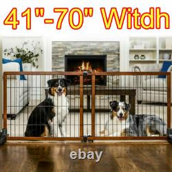 Extra Wide Tall Pet Gate Freestanding Wood Adjustable Moveable for Large Opening