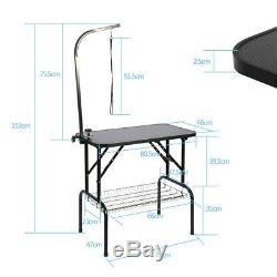 Foldable 32 Pet Care Dog Cat Grooming Table Adjustable Arm Noose Groom