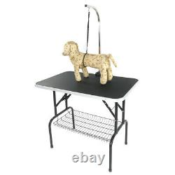 Folding 32 Pet Dog Grooming Trimming Table Arm Adjustable WithNoose Tray Non-Slip