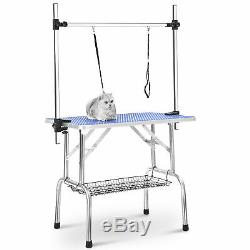 Folding Dog Cat Pet Bath Grooming Table 36 Adjustable Arm with 2 Noose + Basket