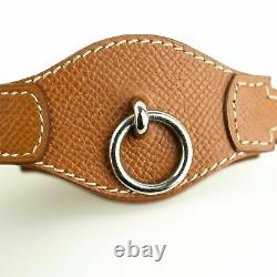 HERMES Pet Dog Collar Brown Leather Silver HDW with Box
