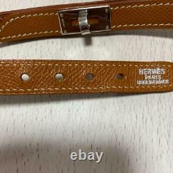 HERMES collar lead set Dog Supply Pets Brown 32cm Small dog S size leather A584