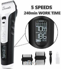 Hair Clippers Professional Dogs and Pets 4 Hours Use 5 Speed Adjustable LED