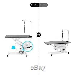 Heavy Duty Z-Lift Adjustable Hydraulic Pet Dog Grooming Table with Arm Noose U4V6