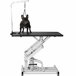 Hydraulic Z-Lift Metal Pet Dog Cat Grooming Table withAdjustable Arm Noose
