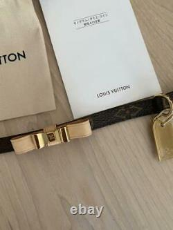 LOUIS VUITTON collar Dog Supply Pets Brown Small S size leather A585