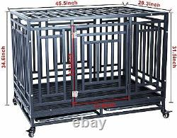 Large 45In Heavy Duty Dog Pet Crate Cage with Roof Can Not Open and Four Whee