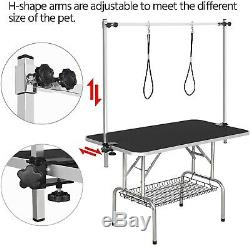 Large 46 Dog Pet Grooming Table Portable Folding Adjustable Arm Noose Mesh Tray