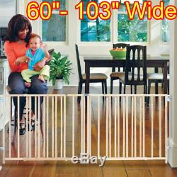 Large Baby Gate Child Dog Pet Safety Fence 5-8 Foot Extra Wide Swing Gates New
