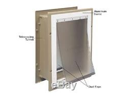 Large Dog Door House Wall Entry Flap Aluminum Pet Telescoping Tunnel Adjustable