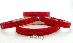 Leather Pet Collar Crystal Bling Dog Cat Breakaway Safety with Swarovski Jewels