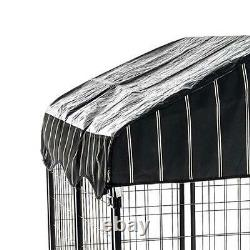 Lucky Dog Single-Door Outdoor Welded Wire Pet Kennel with Cover, Black, 4L x 4