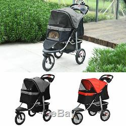 Luxury Folding Pet Stroller Dog Cat Travel Carriage with Wheel Adjustable Canopy