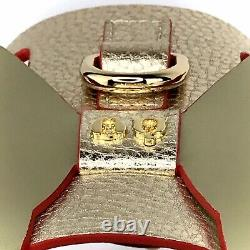 MOSHIQA Gold Leather Dog Harness Size XXL WW84 Wings Luxury Suede Pet Collar