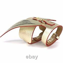 MOSHIQA Gold Leather Suede Dog Harness Size XL Wings Designer Luxury Pet Collar