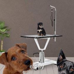 NEW 36 Metal Adjustable Hydraulic Pet Dog Cat Grooming Table With Arm Noose U5P5