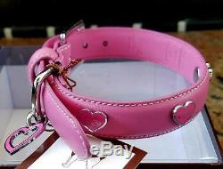 NEW Coach PINK Genuine Soft Supple Cowhide Leather Heart Charm Dog Pet Collar XS