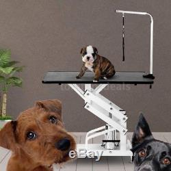 NEW Hydraulic Grooming Table Pet Dog Supply Adjustable Height Type H Base V4Z3