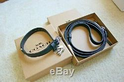 NWT COACH Black Leather Small Pet Dog Buckle Collar & Leash Set in Gift Box