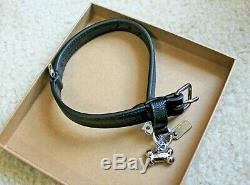 NWT COACH Crossgrain Black Leather Small Pet Dog Buckle Collar & Leash Set