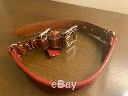 New COACH Leather Charm Pet Animal 11-13 DOG COLLAR 8418 S Red Blue Brown RARE