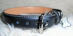 New Coach Black Smooth Leather With White Bone Charm Dog Pet Collar Small 4000
