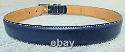 New Coach Blue Smooth Leather Square Charm Dog Pet Collar Extra Large XL 8235