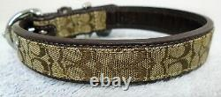 New Coach Brown Leather Jacquard Signature C Dog Pet Collar Size Small 4003