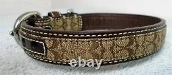 New Coach Brown Leather Jacquard Signature C Dog Pet Collar Size Small 60178