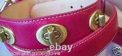 New Coach Hot Pink Turnlock Extra Small Dog Cat Pet Collar Xs Stock Sale