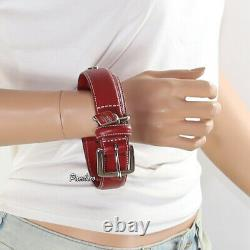 New Coach Leather Circle Studded Charm Dog Pet Animal Collar Large Red 8848