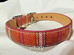 New Coach Legacy Multi Color Stripe Small Leather Dog Pet Collar S