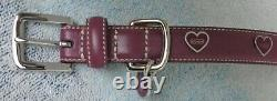 New Coach Maroon Smooth Leather Heart Charm Grommets Dog Pet Collar Size Xs 8848
