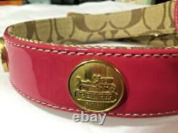 New Coach Pink Brass Grommet Around Large Leather Dog Pet Collar L Heavy