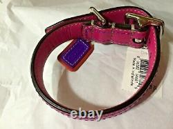 New Coach Pink Multi Colored Extra Small Leather Dog Pet Collar Xs Leather Fob
