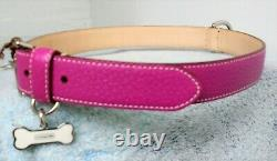 New Coach Pink Textured Leather Bone Charm Dog Pet Collar Extra Large XL 60145
